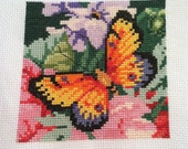 Completed Cross Stitch - Butterfly and Florals - Finished Flower Cross Stitch, Pink Purple Flowers, Colorful Cross Stitch Butterfly