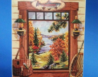 New Sealed Janlynn Counted Cross Stitch Kit- SPORTSMAN'S DREAM - Nancy Rossi- Fall Landscape, Autumn Cross Stitch Picture, Janlynn Kit