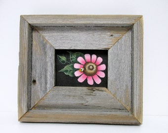 Single Pink Flower, Rustic Barn Wood Framed, Hand Crafted Barn Wood Frame, Tole Painted, Summer or Spring Time Flower, Folk Art Pink Flower