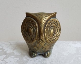 Vintage Brass Owl Statue Big Eyes Bird By Leonard, Gold Metal Paperweight, Bohemian Woodlands