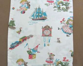 Vintage Hand Crafted Childrens Nursery Rhymes Rayon Pillow Cover Recycled