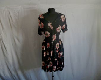 Vintage 90's American Angel™ Tie-Waist Semi-Sheer Crimped-Rayon Floral Pink Sunflower Button-Front Dress Size Small