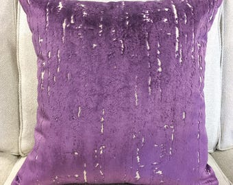 "Designer Purple Cut Velvet Pillow Cover- Purple Pillow Cover- Velvet Pillow Cover- 20"" Finshed Cover"