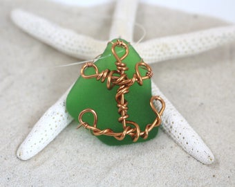 Green Sea Glass, Anchor Charm, Sea Glass Pendant, Sea Glass Necklace, Copper Sea Glass Necklace, Ribbon Sea Glass Necklace, Copper Anchor