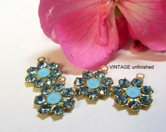 Pair of Swarovski Light Sapphire Blue Flower Drops - One Loop- Brass Settings