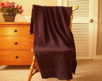 "CLEARANCE! Purple Hand Crochet Throw Blanket Afghan, Plum Heather 61""x37"" Solid color, lap couch bed throw More colors @ CozyHomeCrochet"