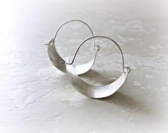 Hammered Sterling Hoops, Silver Hoop Earrings, Metalwork Jewelry, Modern Earrings, Sterling Earrings, Small Hoop Earrings, Silver Hoops