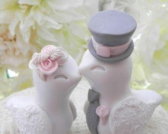 Love Birds Wedding Cake Topper, White, Blush Pink and Grey, Bride and Groom Keepsake, Fully Customizable