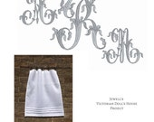 Jewell's Victorian Doll's House Project 4 white linen panels Gray French Monogram ARM