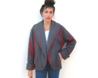 80s Woven Wool Swing Jacket Coat Cropped Boxy Minimal Moderenist Normcore Ladies Size M