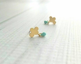 Tiny Cloud Earrings - gold plated brass / 925 sterling silver post - teal turquoise sky blue micro mini small rain drop dangle rainy day