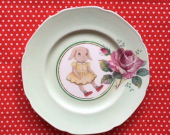 Vintage Baby Bunny With Mint Green Edge and Roses Illustrated Vintage Plate