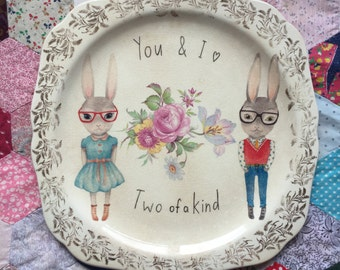 Hipster Bunnies You and I Are Two Of A Kind Extra Large Vintage Illustrated Plate