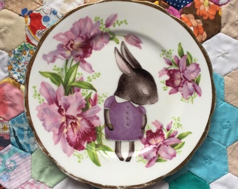 Purple Shy Bunny with Orchids Vintage Illustrated Plate