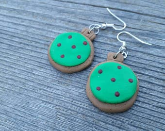 Green and Red Clay Cookie Christmas Ornament Charm Earrings - Holiday Charm Jewelry - Gifts for her