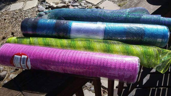 Blue Green Pink Or Purple Deco Mesh Ribbon By The Roll