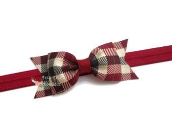 Burgundy Plaid Baby Hair Bow Headbands/Plaid Headband/Tartan Headband/Plaid Hairbows/Baby Girl Headbands/Baby Headbands/Toddler Headbands