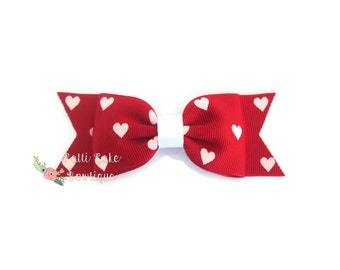 Valentine Day Hair Bow, Red Hearts Bow, Red Bow Hair Clip, Girls Hair Bows, Toddler Hair Bow, Baby Hair Bow Clip, Baby Girl Hair Bow
