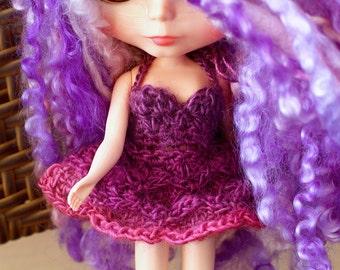 Purple Pink Blythe Doll Dress, Purple Blythe Lace Dress, Crochet Blythe Doll Petal Dress, Blythe Tutu Dress, Blythe Halter Crochet Dress
