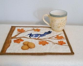 Blue Jay Mini Quilt Bird Snack Mat Bird Lover Placemat Table Trivet Wildlife Wall Art Fabric Art Fall Leaves Blue Orange Brown