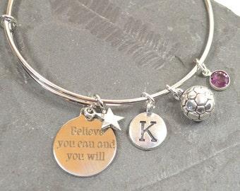 "Personalized Birthstone ""Believe"" Soccer Bracelet - Expandable Silver Bangle Bracelet With 5 Charms (B-002)"