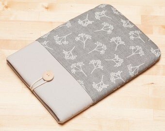 iPad case, iPad Pro 9.7 sleeve,  iPad Pro cover, iPad Air 2 case,  ipad 3 case  - Grey floral