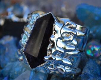 SILVER MELT CUFF  /// Amethyst Gemstone Cuff /// Fine Silver Electroformed