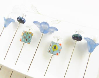 Fancy Sewing Pins Blue Flowers and Millefiroi