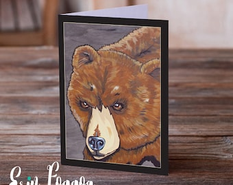 The Four Grizzly Bears wise and lumbering Art Pack Animals Wild Art cards pack of FOUR folk art animal art greeting card canadian wildlife