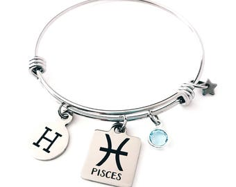 Personalized Pisces bangle Pisces Zodiac Personalized bangle bracelet Silver Pisces bracelet Pisces jewelry Zodiac bangle bracelet inital