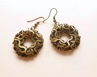 Hoop Earrings, Wired Hoops, Pierced Hoop Earrings,  Donut Holes,  Bronze, Copper or Black