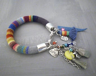 Evil Eye Charm Bracelet Colorful Crochet Tube Bangle Talisman Tassel Bracelet Boho Gypsy Jewelry Peruvian Bracelet Ethno Fiber Bangle