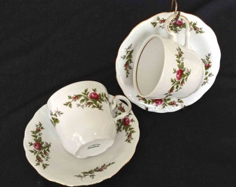 Pair of Johann Haviland Cups and Saucers, Moss Rose Pattern, MINT Condition, Traditions