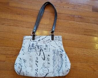 Rustic Handbag Purse Black Oatmeal Brown Gray