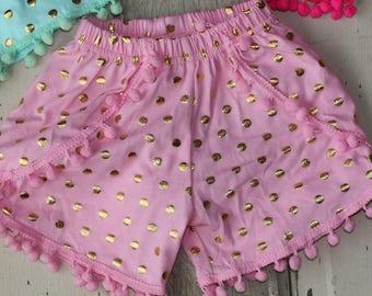 Cotton Light Pink Pom-Pom Shorts Summer Baby Girl