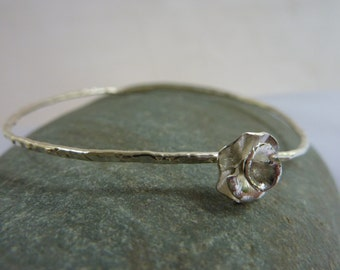 Peony Rose stacking bangle: Handmade, hammered sterling silver