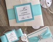 Rhinestone Starfish Pocket Folder Invitation, Beach Wedding, Seaside, Destination Wedding, Aqua Blue, Turquoise, Deep Sea Blue, Ocean Blue