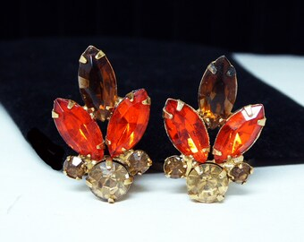 Vintage Rhinestone, Clip on Earrings, Root Beer Brown,Orange Marquise, Round Chatons, Citrine Yellow - Mid Century 1950's Earrings