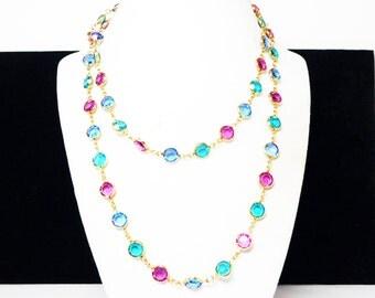 Austrian Crystal Necklace - Bezel Set Round Multi Colored Jewel Tone Links - Choker Length - European 1960's - 1970's Mod Vintage