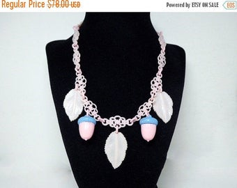 Celluloid Acorn Necklace - Early Century Plastic Jewelry - Pink & Blue Acorns - Pink Leaves and Plastic Chain Links - Vintage 1940's 1950s