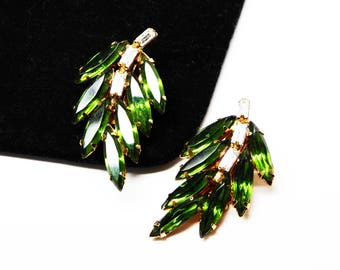 Green Rhinestone Leaf Earrings - Clip on Leaves - Clear Baguette  and Green Marquis - Vintage 1950's - 1960's Mid Century Jewelry