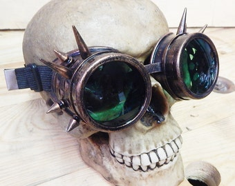 STEAMPUNK SPIKE GOGGLES - Copper Distressed-Look Cyber Rave Steampunk Welders Goggles with Spikes -Burning Man Goggles