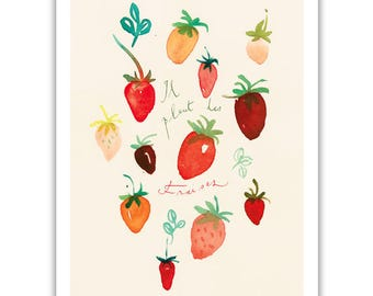 Watercolor Strawberry print, Red Home decor, Kitchen wall art, Food art, Strawberry illustration poster, Summer fruit painting, Wall hanging