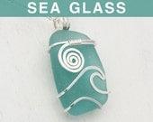 Teal Green Sea Glass Pendant