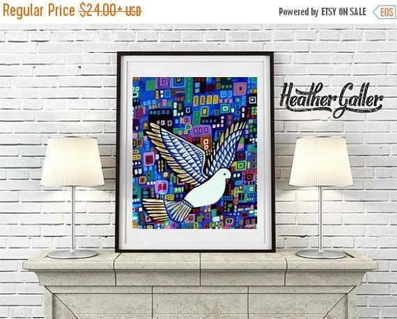 50% Off Today- White Dove Bird Modern Abstract Folk art Kundalini Print Poster by Heather Galler (HG900)