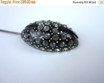 On Sale Antique Black Hat Pin/ Paste Beetle Hat Pin/ Goth Mourning Pin/ Art Deco Victorian Hat Pin