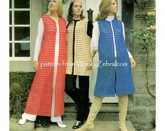 Vintage 70s long waistcoat or vest Crochet Pattern in 3 lengths mini midi maxi PDF 937 from WonkyZebra