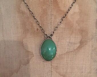 Mint Turquoise Necklace - turquoise pendant, turquoise necklace, turquoise cabochon, sterling jewelry, southwestern jewelry, boho chic