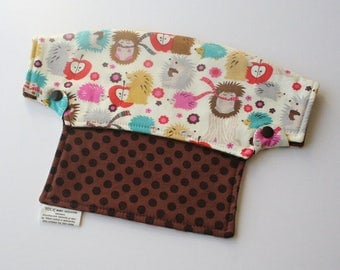 Baby Carrier Drool Bib - Hedgehogs and Brown Polka Dots (Fits LÍLLÉbaby Carriers) - Ready to Ship!