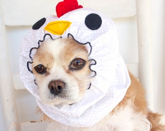 Chicken Dog Snood - Stay-Put 3 Rows Elastic Thread, Pet Hat,  Long ear covering - Specialty Snood